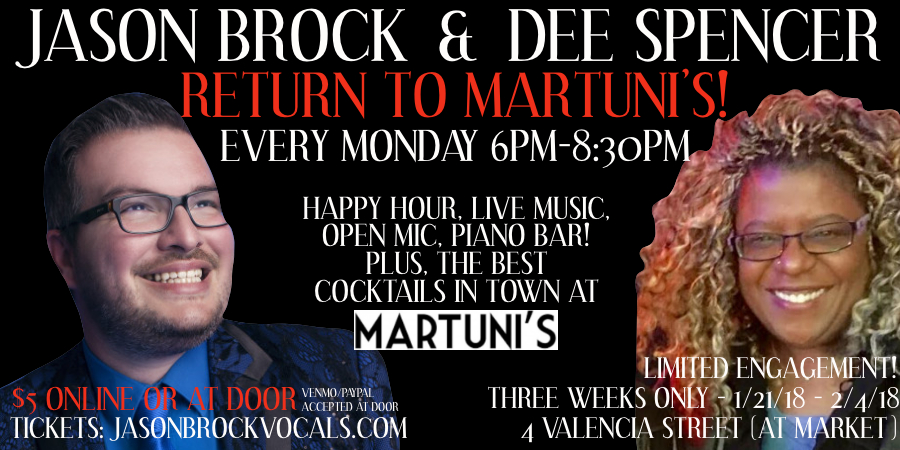 Jason Brock and Dee Spencer Happy Hour Piano Bar at Martuni's